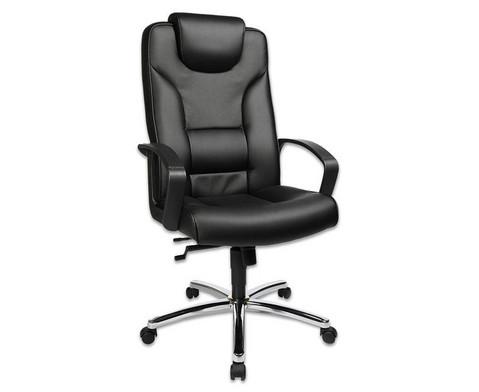 Komfort Chefsessel mit Leder-Sitzflaeche und Stahlfusskreuz