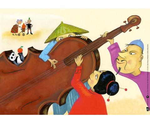 Bildkarten  Drei Chinesen mit dem Kontrabass-2