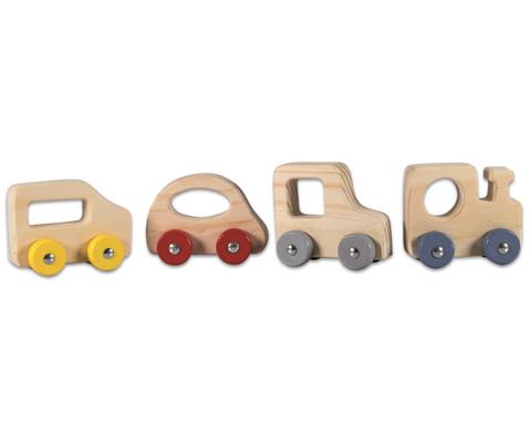 Miniautos aus Holz 4er-Set