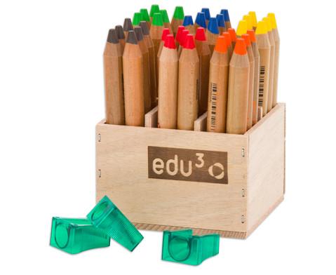 36 Buntstifte im Holzaufsteller mit Spitzer-2