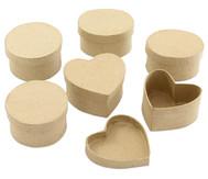 Pappdosen Kreis, Oval und Herz, 6 Stück