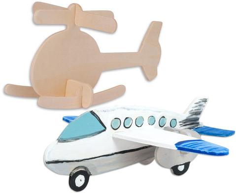 Holz-Bausatz  Hubschrauber und Flugzeug-1