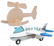 Holz-Bausatz : Hubschrauber und Flugzeug