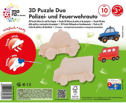 Holz- Bausatz Polizei und Feuerwehrauto-4
