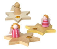 Kerzenhalter Stern mit Engelchen, 5 Stück