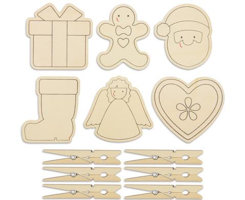 Holzklammern Weihnachten 6 Stueck-1