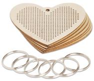 Schlüsselanhänger Stick-Herz, 6er-Set