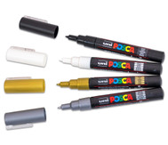 POSCA Schwarz-Weiß-Gold-Silber-Set mit extra-feiner Rundspitze