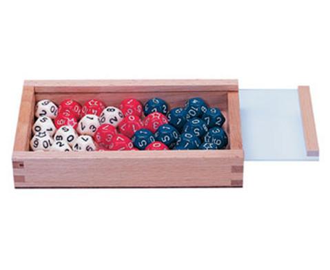 32 Zwoelfflaechige Schulwuerfel weiss - rot - blau-1