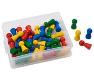 Riesen-Holzspielkegel, 40 Stück in Dose, rot, gelb, grün, blau gemischt
