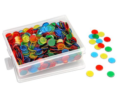 Grosse Kunststoffbox gefuellt mit 1000 farb-transparenten Chips-1