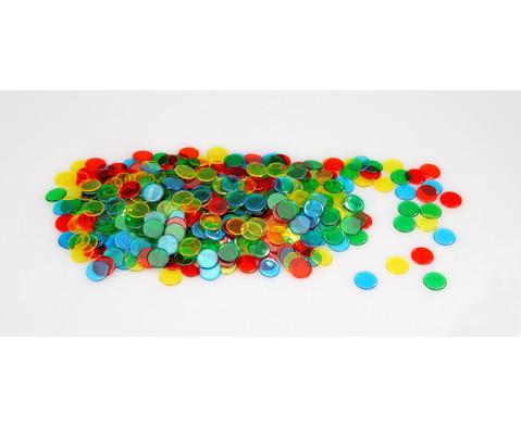 Grosse Plastikdose gefuellt mit 1000 farbtransparenten Chips-4