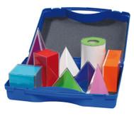 Geometriekörper im Kunststoffkoffer, 9 Stück