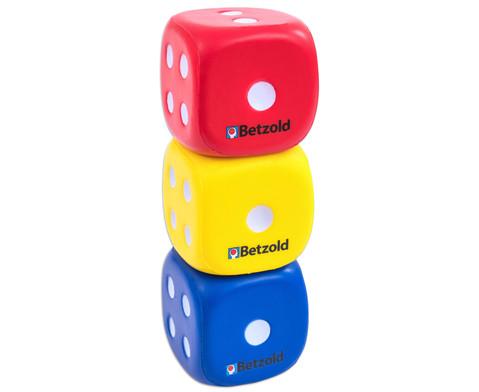 3 Augenwuerfel aus Schaumstoff rot blau gelb-2