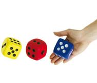 Augenwürfel, 3 Stück aus Schaumstoff (rot, blau, gelb)