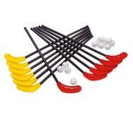 12 Unihockey-Schläger und 12 Lochbälle