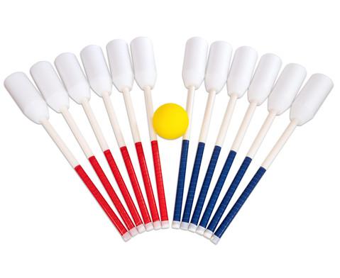 Set mit 12 Schlaegern je 6 x rot-blau und 1 Ball