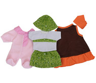 Puppenkleidung, 3er-Set Mädchen