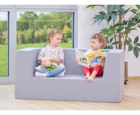 Sofa mit Rueckenlehne und Armstuetzen Webstoff-5