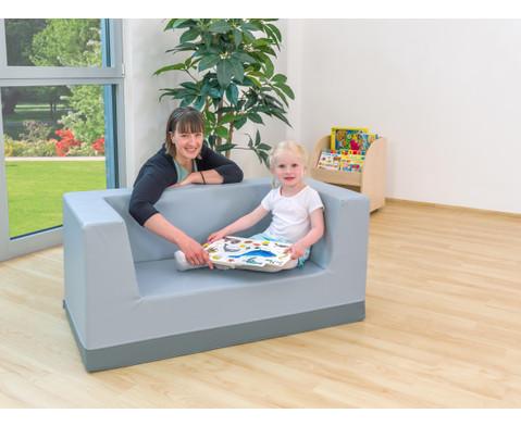 Sofa mit Rueckenlehne und Armstuetzen Kunstleder-4