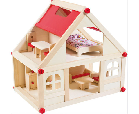 Puppenhaus mit Moebeln und Puppen