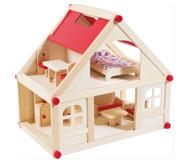 Puppenhaus mit Möbeln und Puppen