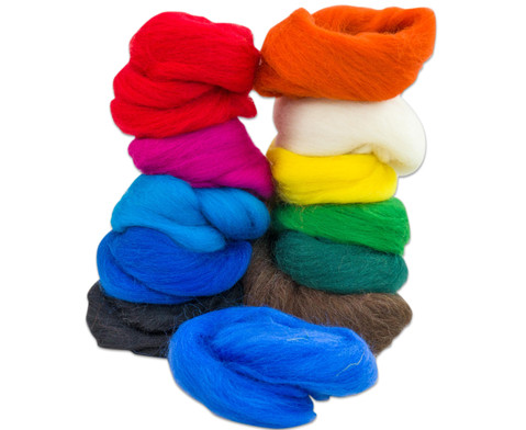 Filzwolle - Regenbogen 12 Farben 100 g