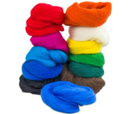 Filzwolle - Regenbogen, 12 Farben, 100 g