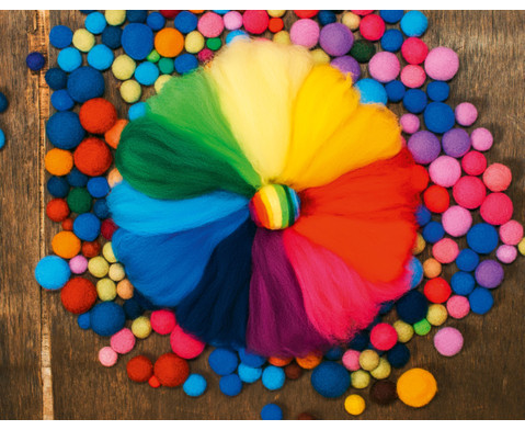 Filzwolle - Regenbogen 12 Farben 100 g-1