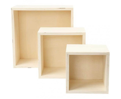 Holzbox Quadrat 3er Set-1