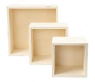 Holzbox Quadrat, 3er Set