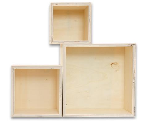 Holzbox Quadrat 3er Set-3