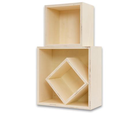 Holzbox Quadrat 3er Set-4