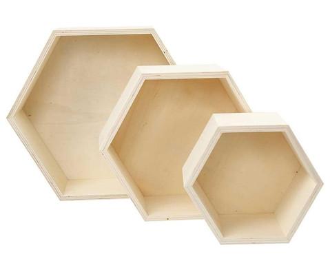 Holzbox Wabe 3er-Set