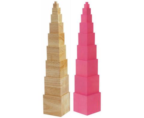 Rosa Turm mit 10 Wuerfeln-2