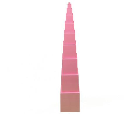 Wuerfelturm in rosa mit 10 Wuerfeln