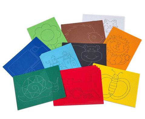 Ausnaeh- oder Stickkarton 40 Blaetter mit 10 vorgedruckten Motiven