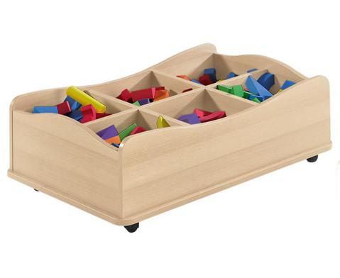 Materialwagen Wellenkiste aus Holz mit 6 Faechern-1
