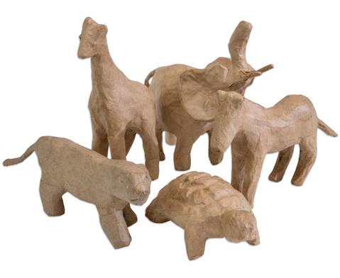 Pappmach Tierset mit 5 Tierfiguren-2