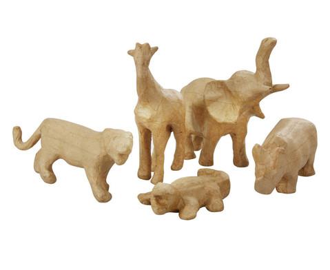 Pappmach Tierset mit 5 Tierfiguren-1