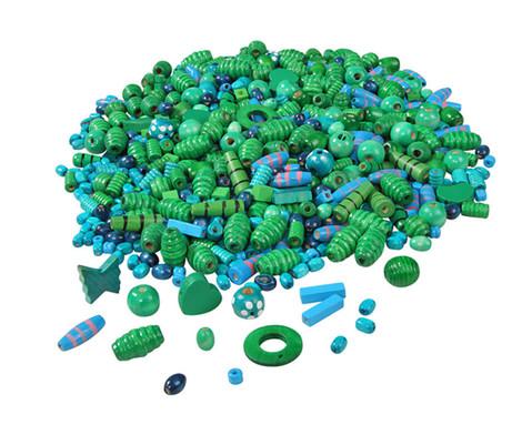 edumero Holzfädelperlen, blau/grün, 250 g