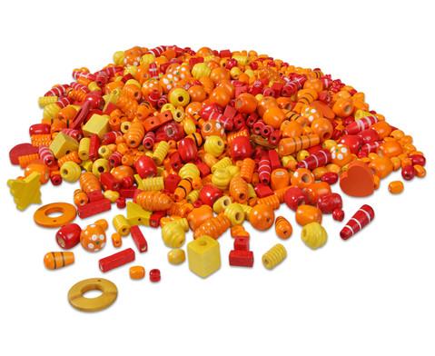 Holzfaedelperlen rot-orange 250 g