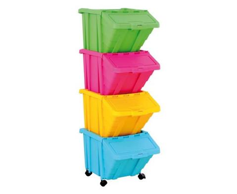 Grosse Stapelbox mit Klappdeckel in 4 Farben-5