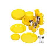 Geschirr-Set, gelb, 70 tlg