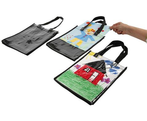 Kunststofftasche mit Einschub schwarz-1