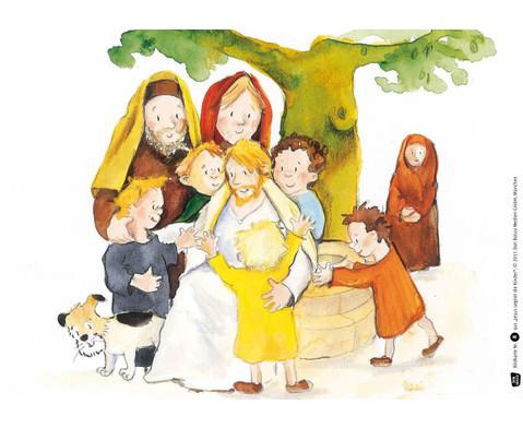 Bildkarten Jesus segnet die Kinder-2