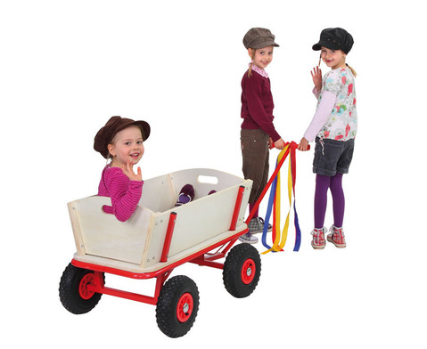Holz-Bollerwagen mit Feststellbremse-1