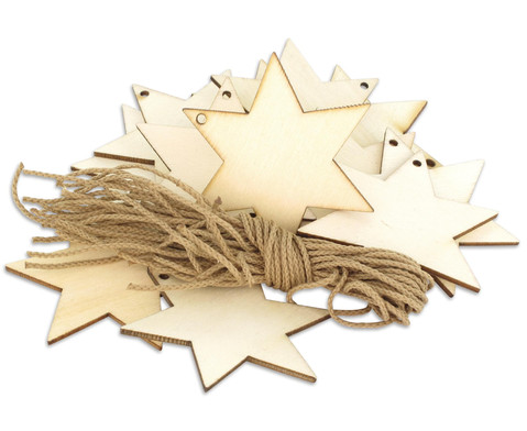 Weihnachtsanhaenger Stern 24 Stueck blanko