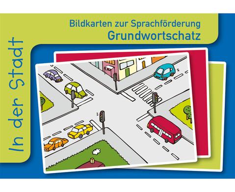 In der Stadt Sprachfoerderung mit Bildkarten