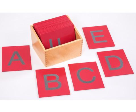 Fuehl- und Tastplatten Grossbuchstaben in Holzbox
